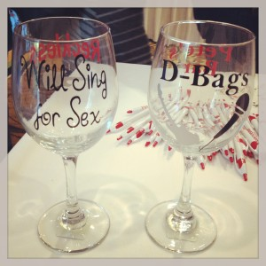 "A fellow volunteer brought these by -- Brandelyn Harris makes these!  I'm getting one of the ""Will Sing for Sex"" glasses made for me!"